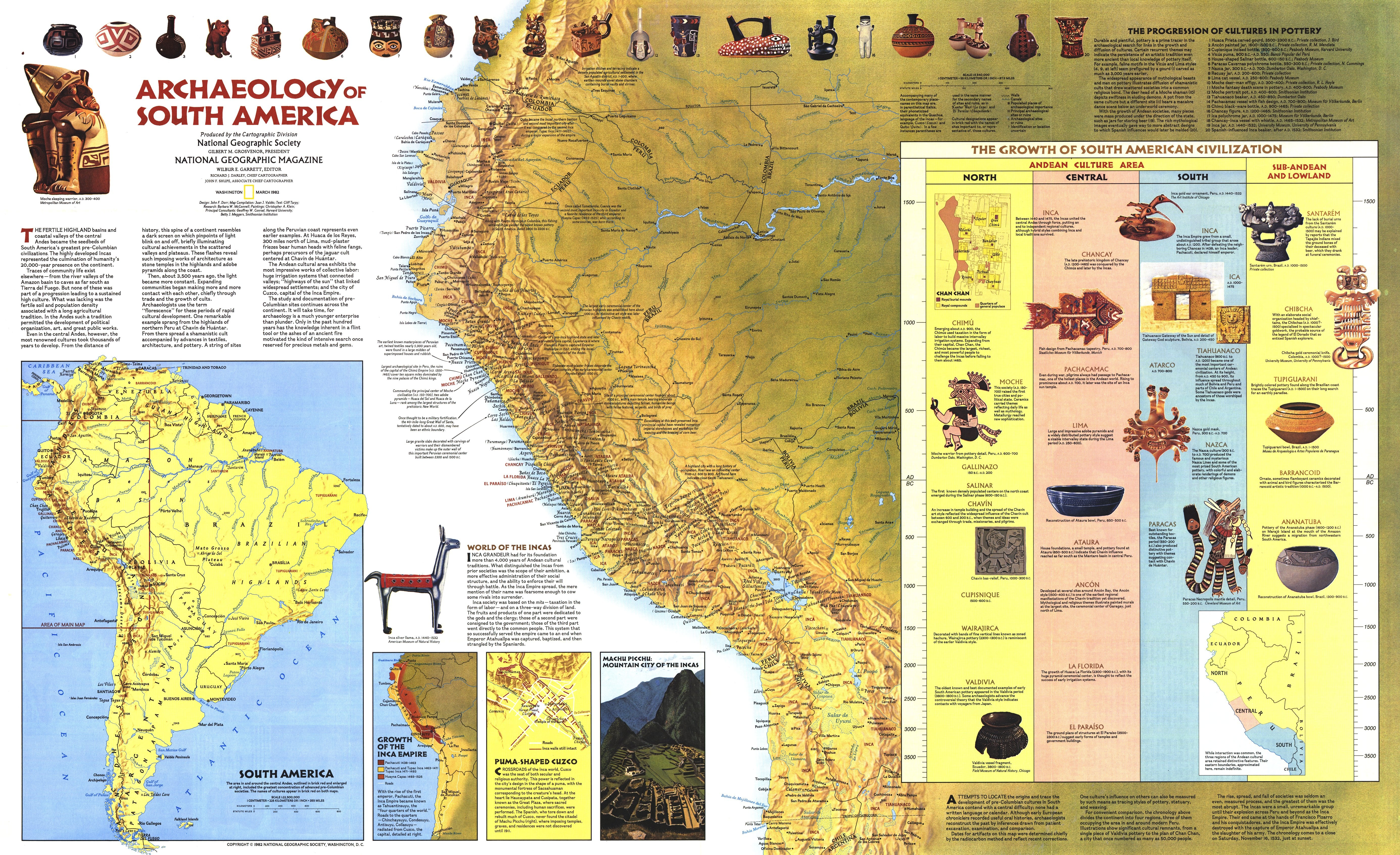 America South America Map.Ngs 1982 Archaelogy Of South America Map
