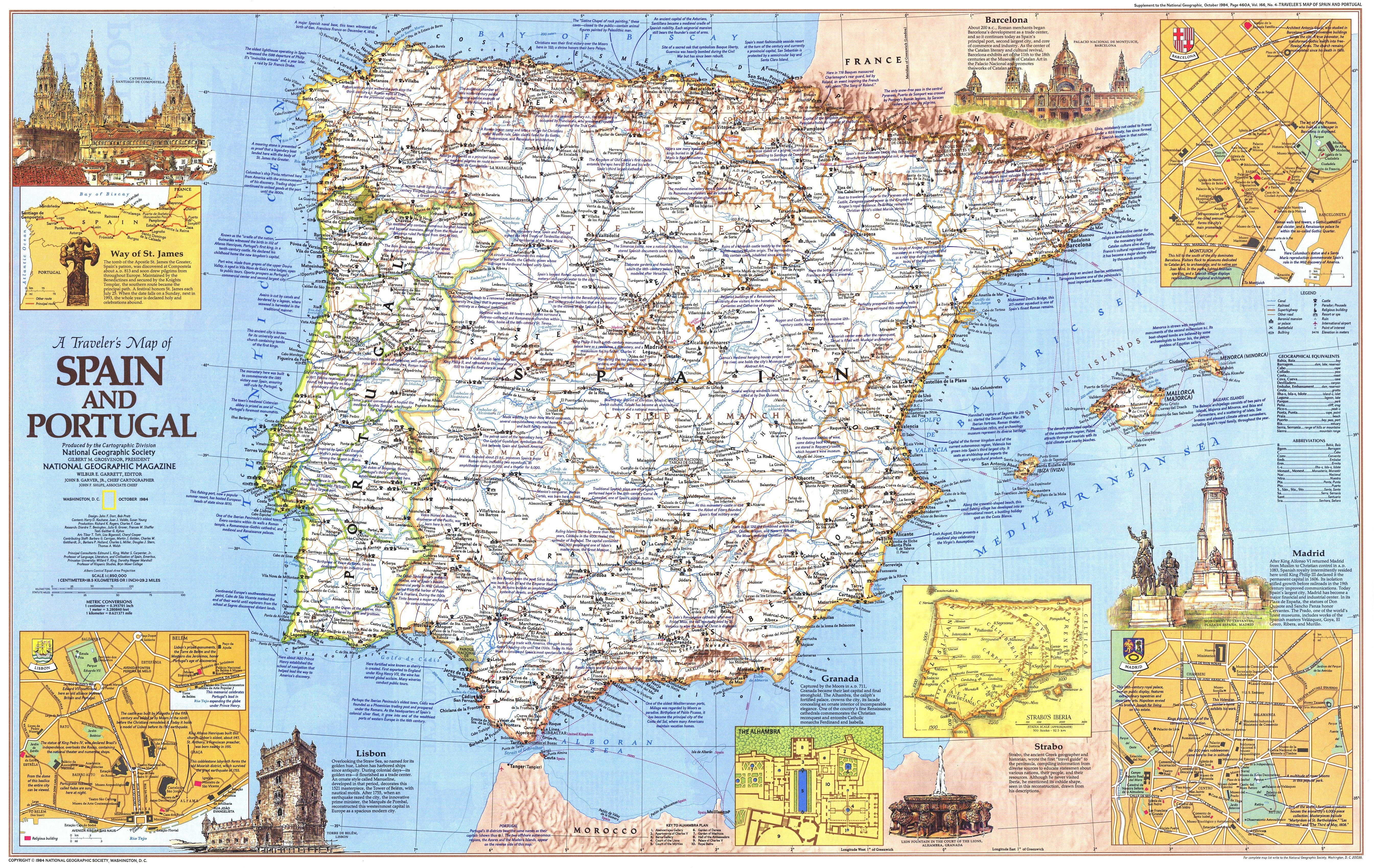 1984 Spanien und Portugal Reisekarte Seite 1 - 91 x 57cm