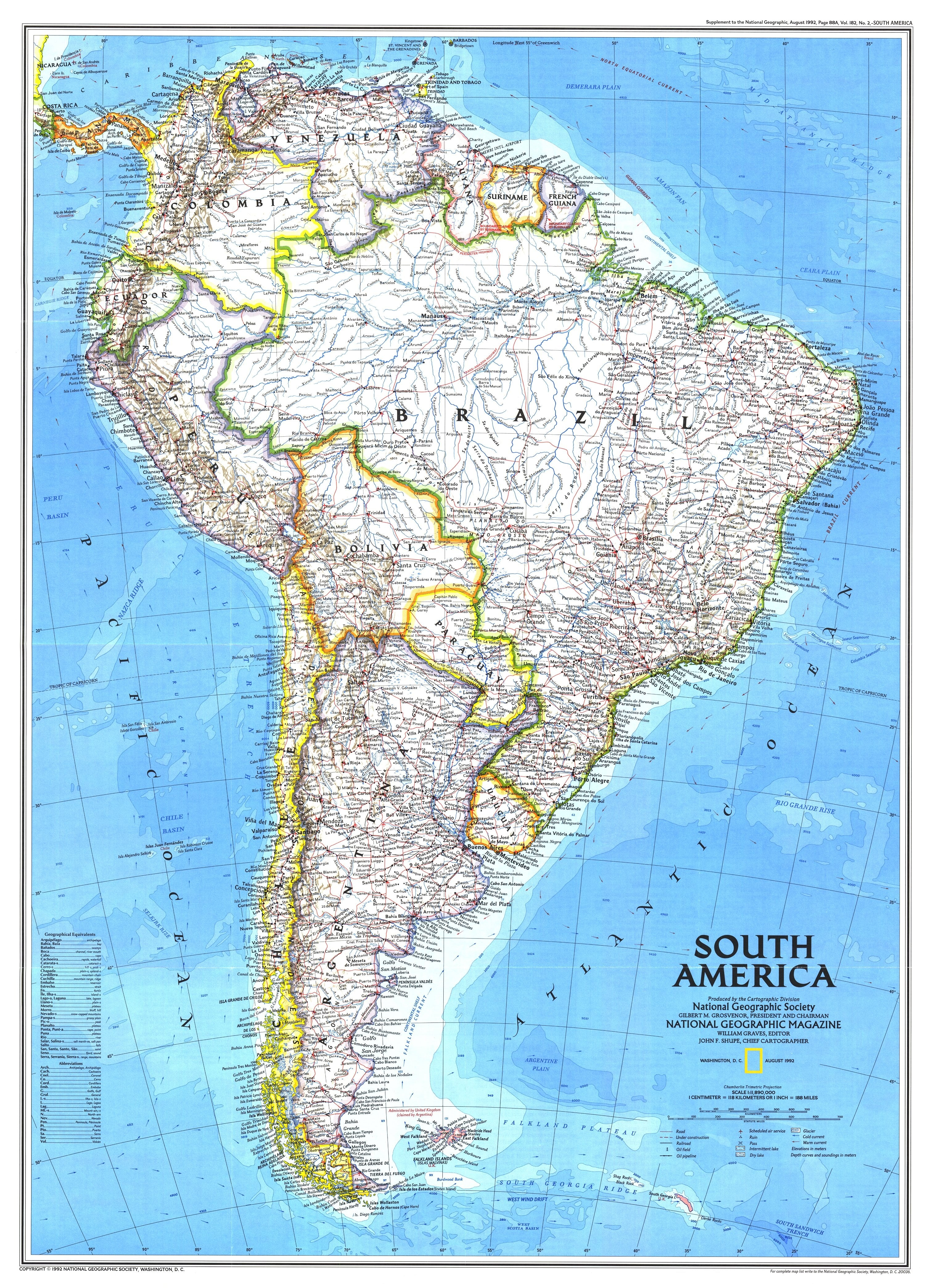 NGS 1992 South America Map S America Map on