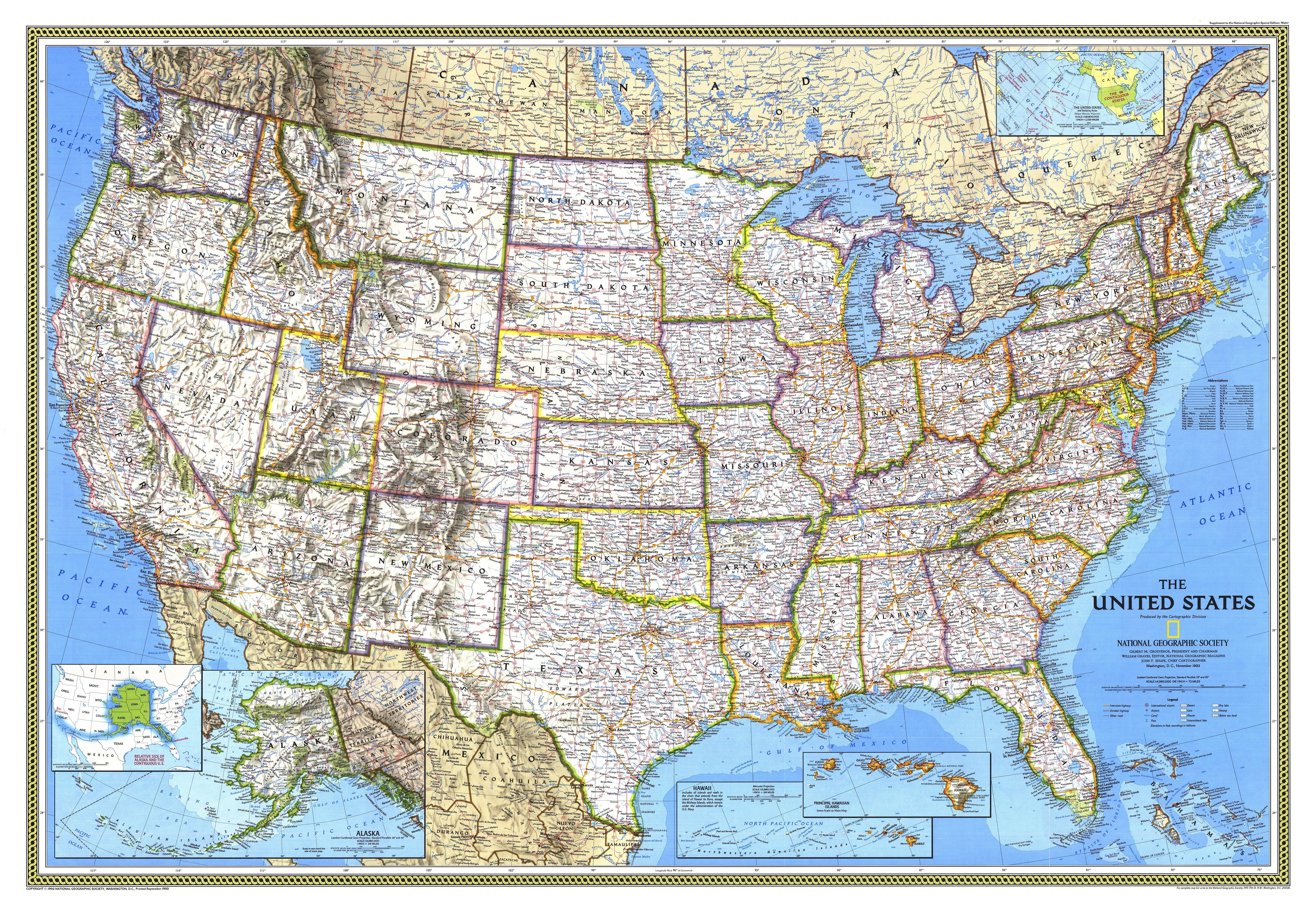 La On Us Map.1993 United States Map