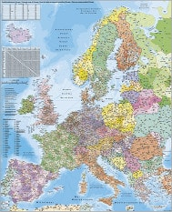 Post numre kort Europa