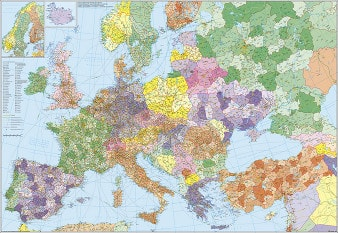 Postnummerkort over Europa med Tyrkiet