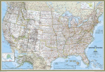 Political US Map Classic from National Geographic (standard size)