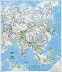 Politische Asien Karte von National Geographic
