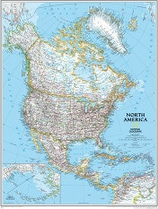 Political North America Wall Map large size from National Geographic