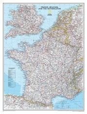 Wall map France, Belgium, Netherland, Benelux Map from National Geographic