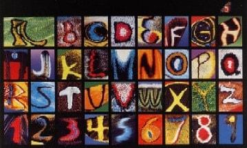 Schmetterlings Alphabet Postkarte