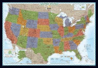National Geographic Decorator USA Map