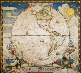 Map of Discovery, Western Hemisphere from National Geographic