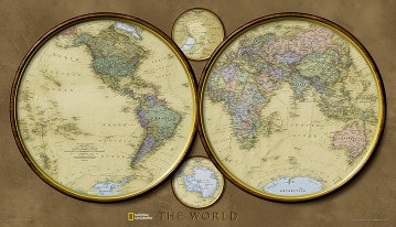 Hemispheres World map from National Geographic