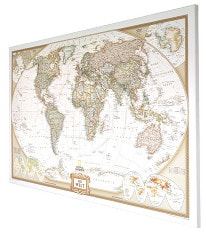 World Map Executive german on Canvas 90 x 60cm