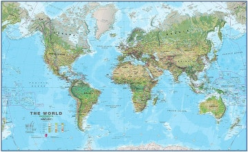 Physical World Map environmental 1:30 Mio