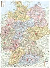 Postnummer Kort Tyskland (XL størrelse)