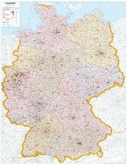 Postnummerkort over Tyskland 98 x 139cm