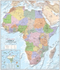 Political Africa Wall Map - Africa Map Poster from Global Mapping