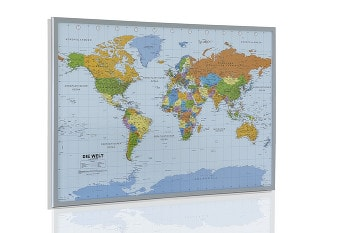 Politisk verdenskort, kork opslagstavle - tysk 90 x 60cm
