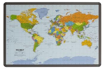 Weltkarte deutsch auf Kork Pinnwand mit Alurahmen