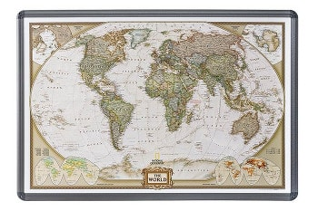 Executive antqiue style World Map on Cork Pinboard from National Geographic