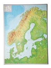 Skandinavien 3D Relief kort 57 x 77cm