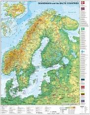 Skandinavien og Baltikum kort fysisk