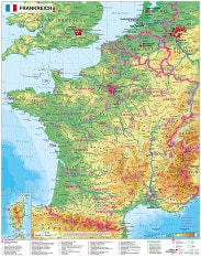 France physical Wall Map