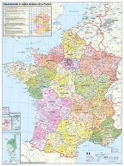 France Departement Wall Map
