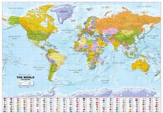 Politisk verdenskort med flag 1:30 Mio 135 x 96cm
