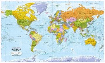 Politische Weltkarte in deutscher Sprache 1:20Mio