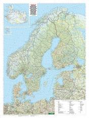 Landkort over Nordeuropa 87 x 116cm