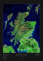 Scotland Satellite Poster Map