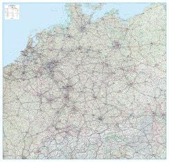 Straßenkarte Deutschland, Österreich, Schweiz (D-A-CH) und Benelux 154 x 147cm