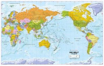 Politische Weltkarte Pazifik zentriert deutsch Großformat 192 x 122cm