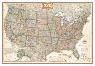 USA Wall Map Antique