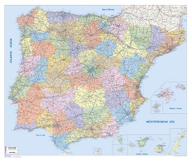 Spain / Portugal Post Code Wall Map