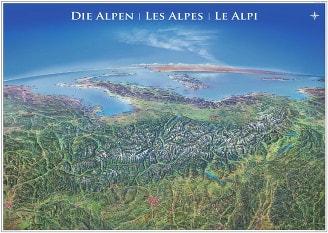 Panorama Karte Alpen XXL - laminiert 182 x 136cm