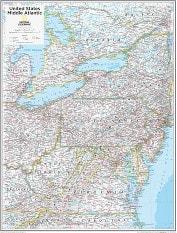 Mittelatlantik Staaten USA Karte 73 x 91cm