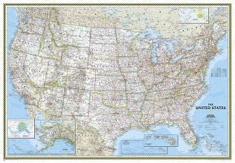 Political US Map (large size) - USA Wall Map from National Geographic