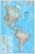 Politisk landkort over Amerika National Geographic