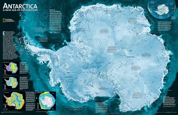 Antarctica Map - Satellite wall map Poster - National Geographic