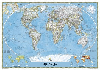 Political world map in giant size poster from National Geographic