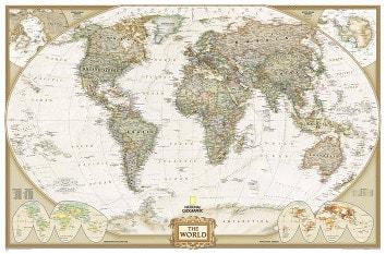 Weltkarte Poster von National Geographic auch als Magnetwand oder Pinnwand