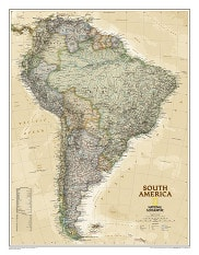 South America Wall Map Executive from National Geographic