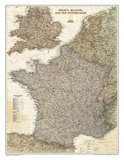 France and Benelux executive Wall Map from NGS