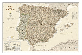 Spain and Portugal Wall Map Executive from National Geographic