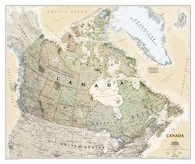Canada wall map poster in antique style executive from National Geographic