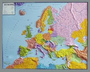 3D Reliefkarte Europa politisch mit Rahmen