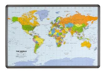 Verdenskort kork opslagstavle med aluminiumsramme