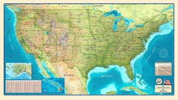USA Landkarte physikalisch