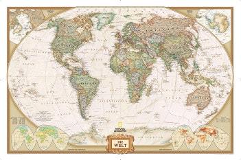 Executive verdenskort i historiske stil, tysk