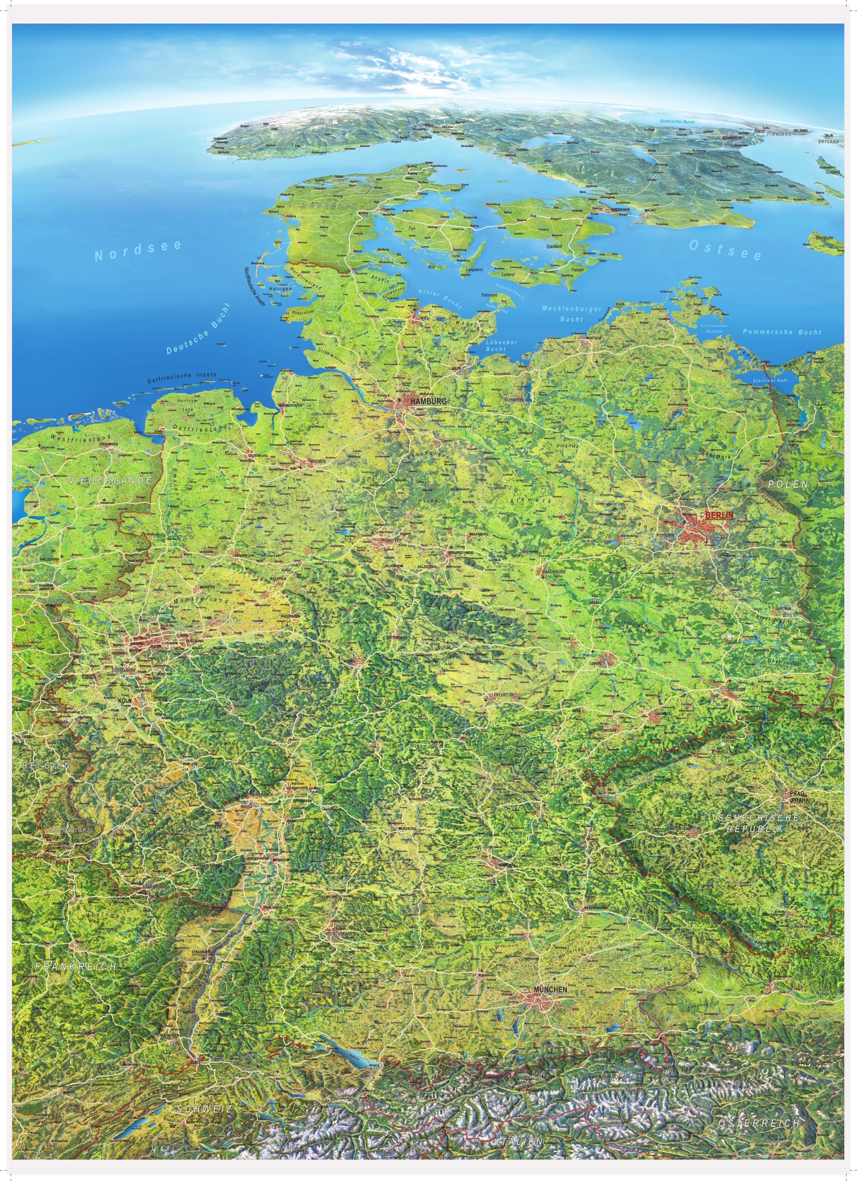 landkarte deutschland satellit Deutschland Landkarten als Poster im Überblick   Blog Neuigkeiten